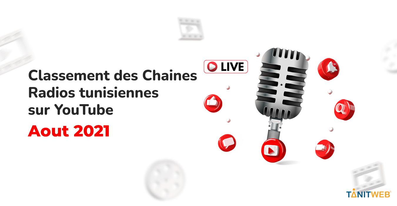 Classement des Chaines Radios tunisiennes sur YouTube – Août 2021